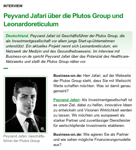 Peyvand Jafari über die Plutos Group und Leonardoreticulum
