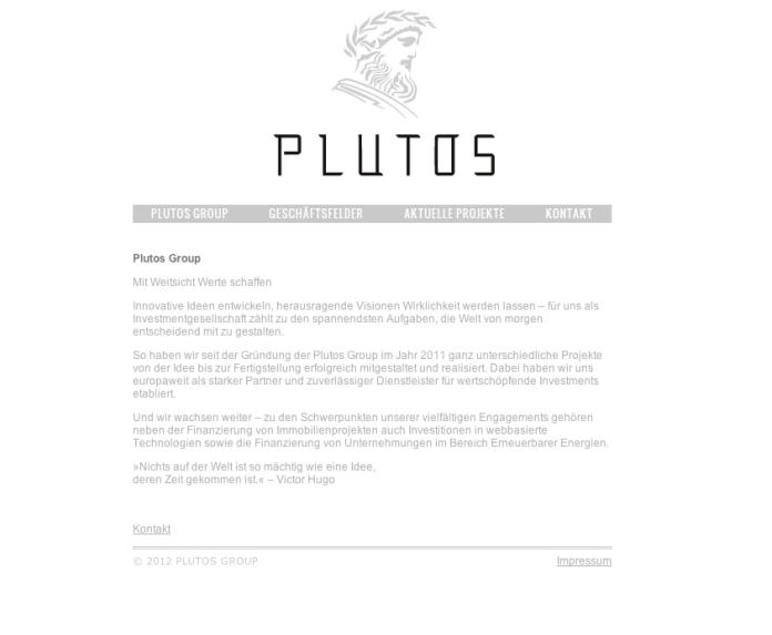 Investmentgesellschaft Webseite Plutos Group